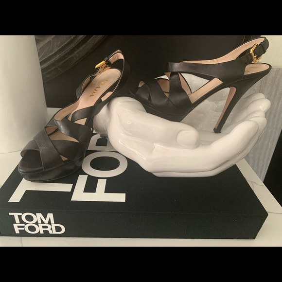 Prada Shoes - Luxury -Prada Black leather Crossover Heels
